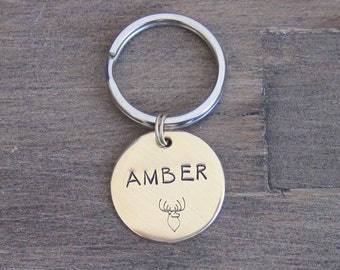 Pet ID Tag - Dog Tag - Cat Tag - Bridle Tag - Hand Stamped NuGold