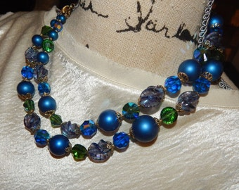 Vintage Vendome Jewelry Set Blue Beaded Double Strand Necklace Blue Cluster Bead Earrings Signed Vendome
