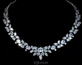Cubic Zirconia Wedding Necklace - Crystal Necklace - Bridal Necklace - Choker Necklace - Prom - Statement Necklace - CZ Necklace - AN0027