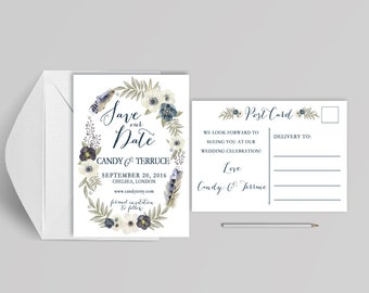Printable Save the date white and blue, Bhoemian watercolor Save the Date postcard, Save the date blue, The Annie Collection