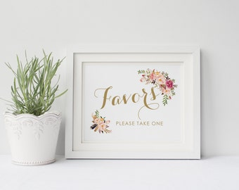 Printable wedding favors sign, Wedding favor sign, Boho Floral favors sign printable,  Instant download, The Mia collection