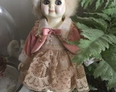 "Hand Painted Vintage Altered Bisque Doll ""Abby"""