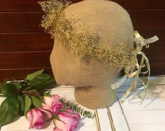 Gold floral Crown fall baby's breath Flower crown halo crown Wedding crown Floral headband fall flower crown Wedding Crown floral headband