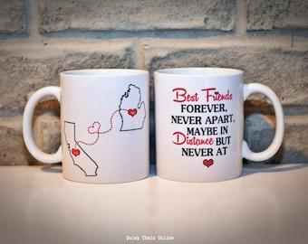 Custom Coffee Mug - BFF Mug, Sister Mug, Gift for BFF, Gift for Sisters, Gift for Him, Gift for Her, Gift for Boyfriend - Custom State Mug