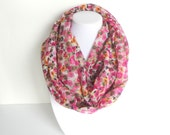 Spring Infinity Scarf, Purple Infinity Scarf, Colorful Scarf, Floral Scarf, Lightweight Scarves, Delicate Print