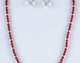 Handmade Sterling Silver & Siam Red Swarovski Elements Crystal Necklace Set