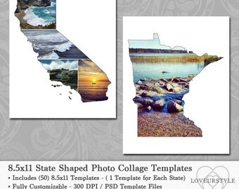 8.5x11 State Shaped Photo Collage Template Pack, Includes All 50 States, Wall Art, Scrapbooks, Albums, Photography, Blog, Design