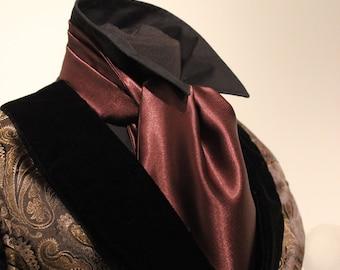 Men's Victorian Satin Dress Cravat - Dark Brown Steampunk Ascot - Gentlemen's Accessory