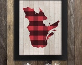 Quebec Map Print - Montreal Art Poster Quebec City Canada - Buffalo Plaid Province Poster - Cabin Home Decor - Country Lumberjack