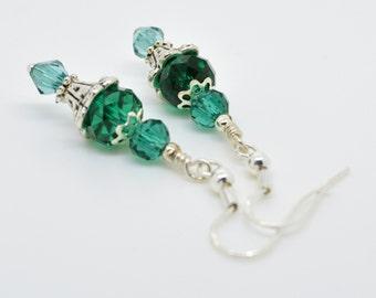 Dark Green Earrings, Green Dangle and drop earrings, Green drop earrings, Crystal jewellery, crystal earrings, drop earrings