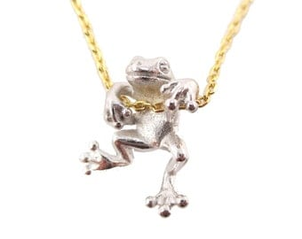 Realistic Frog Pendant Dangling on a Chain Necklace in Silver on Gold | Handmade Animal Jewelry