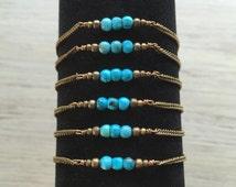 Turquoise bracelets / stacking bracelet / layering bracelet / simple turquoise bracelet / boho crystal bracelet / bohemian bracelet