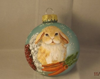 Lop bunny Rabbit painted on Christmas ornament