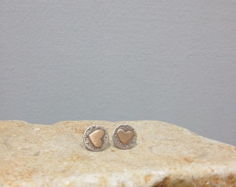 Silver Heart Studs, Heart earrings, Tiny Heart studs, Sterling silver and Goldfield, Gift of Love , Christmas gift