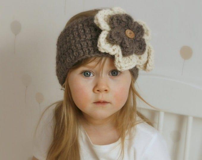 CROCHET PATTERN headband headwrap with flowers Säde (newborn to adult woman sizes)