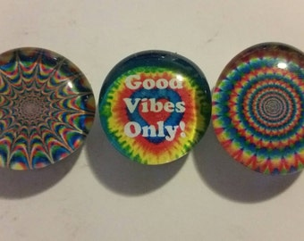 Set of 3 strong magnets, glass magnets, Good Vibes Only tye dye, bright, colorful refrigerator magnets, fridge, kitchen decor, hippy magnets
