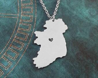 Ireland Necklace Ireland Jewelry Ireland Pendant Charm Country Necklace Irish Gift Long Distance Relationship Personalized Heart Necklace