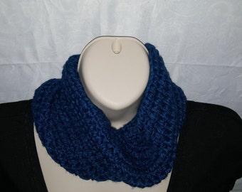 Sapphire Blue Crochet Neck Infinity Muffler