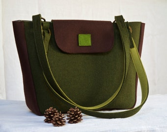 Handbag in Forest Green and Deep Brown, Work Tote, Work Bag, Lined Handbag, Wool Felt Bag, Sturdy Felt Shoulder Bag, Handbag for Work