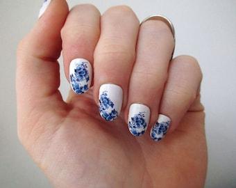 Delft Blue nail tattoos / nail decals / nail art / boho nails / festival / something blue wedding / floral nail decals / nail wraps / Blue