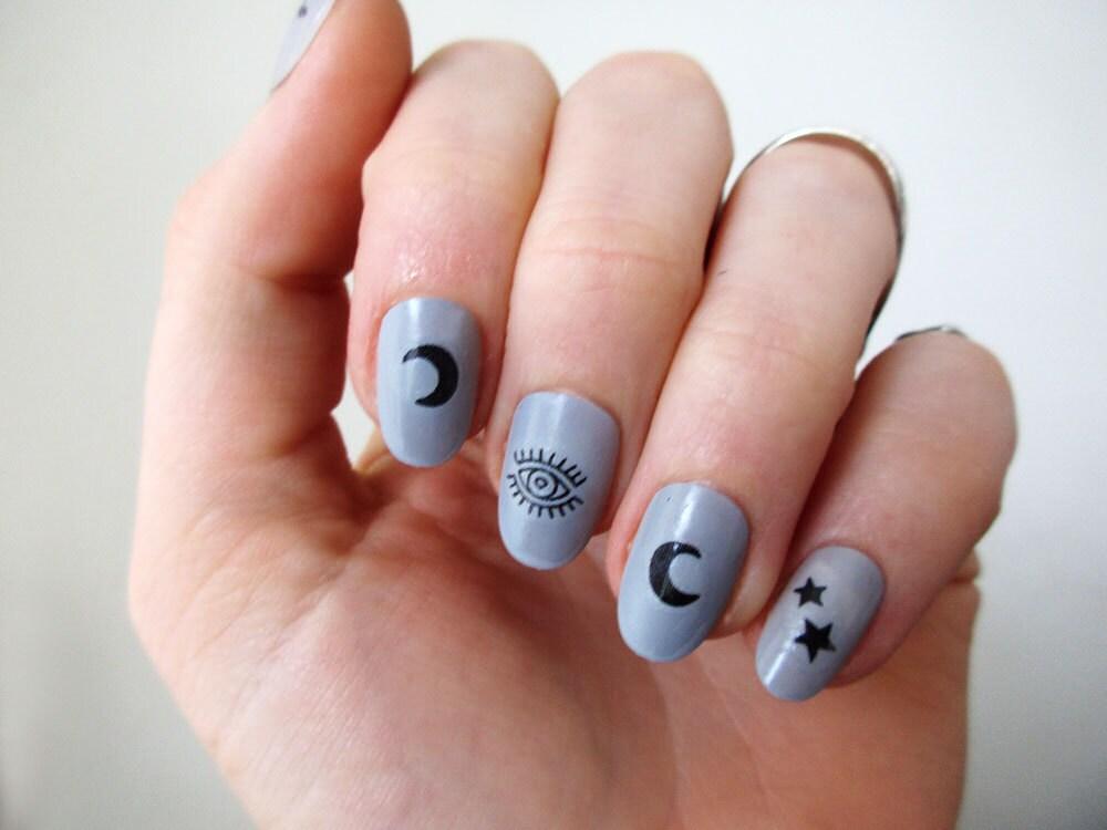 🔎zoom - Moon Stars And Eyes Nail Tattoos / Nail Decals / Nail Art /