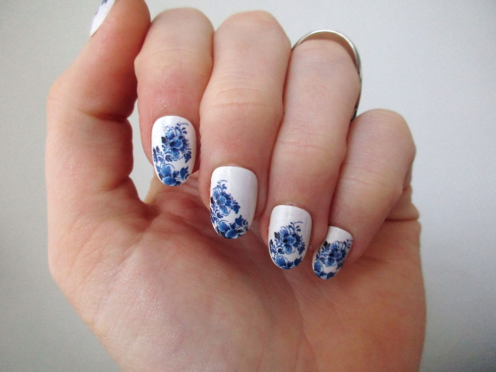 Delft blue nail tattoos nail decals nail art boho nails zoom prinsesfo Image collections