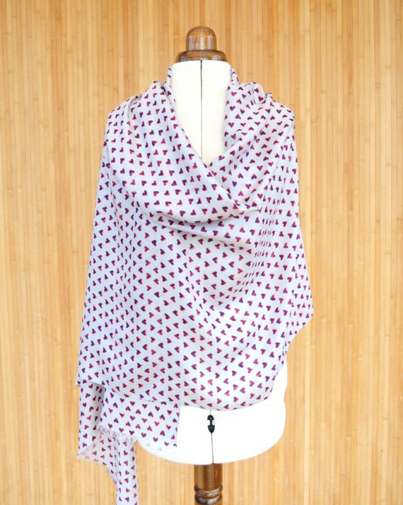Silk Scarf, Heart Print Scarf, Cotton Silk Wrap, Silk Shawl, Silk Pashmina, Wedding Shawl, Romantic Scarf