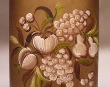 Vintage Janis Pilgrim Tole Painted Floral Fruit Metal Wastebasket Trash Bin Regency