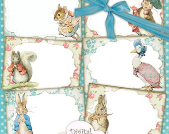 Peter Rabbit Postcards Cards Labels Easter Images Digital Collage Sheet Peter Rabbit Birthday Party Nursery Baby Shower