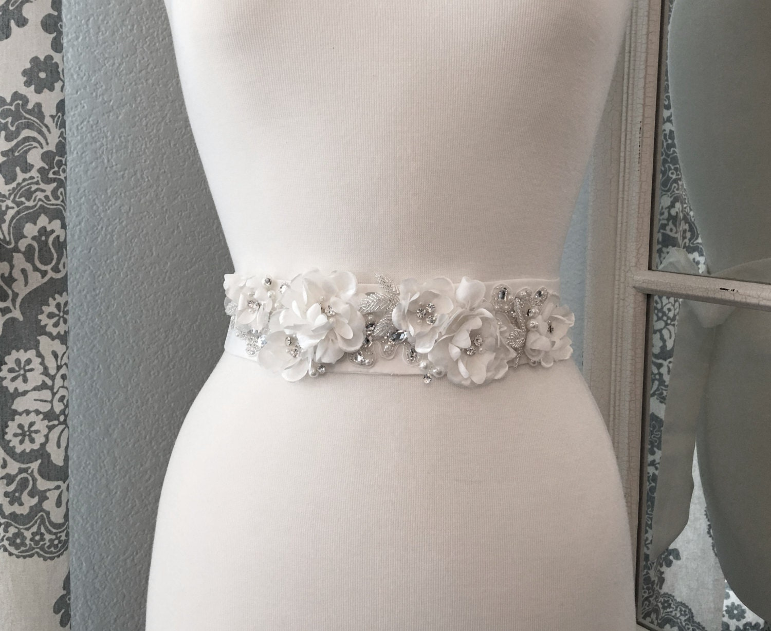 Bridal Sash Wedding Dress Belt Flower Crystal Bridal Sash