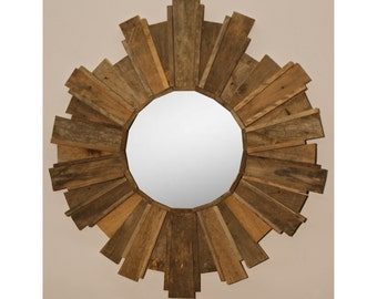Sun Burst Mirror - Reclaimed Palette Wood