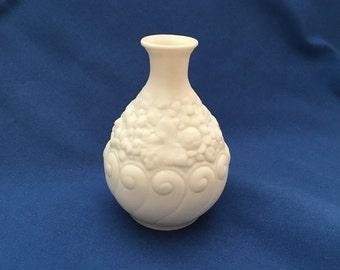 Boehm White Embossed Bud Vase, Embossed Grape Design, Bone Porcelain, Boehm Vase, Porcelain Art, White Bisque, 1950s, White Vase