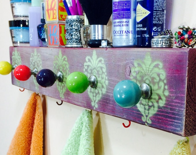 Towel holder bathroom storage bath towel hanger /reclaimed wood art hanging wall rack organizer 6 colorful hooks 5 hand-painted knobs