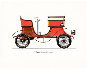 Swiss veteran car motoring red vintage Berna Ideal 1902 print illustration home office décor boy's nursery 9.5 x 7 inches
