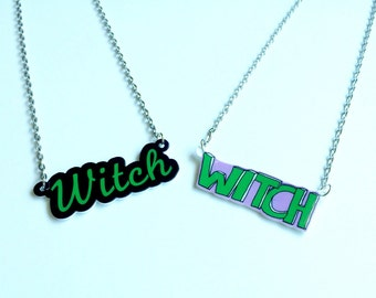 Witch Necklace, Witch Name Necklace, Witch Word Necklace, Kawaii Necklace, Cyber Ghetto Necklace, Creepy Cute Necklace