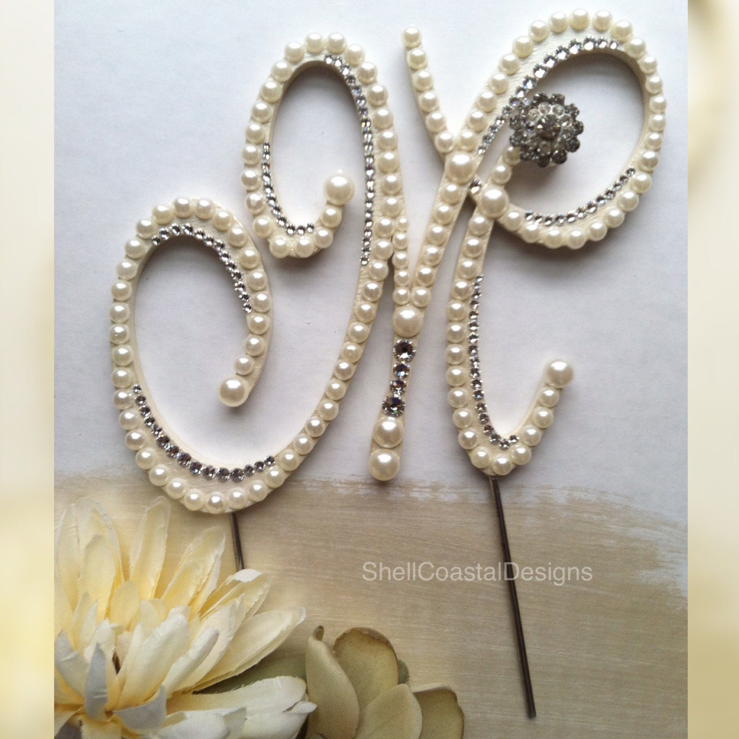 Pearl Cake Topper Monogram Wedding Cake by ShellCoastalDesigns