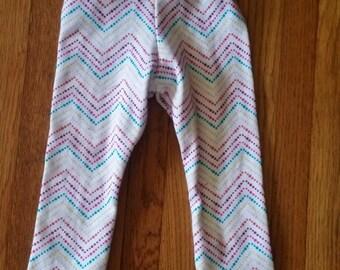 Straight leg rainbow chevron pants, size 12-24 months