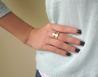 Wide Gold Band Ring - Wide Band Ring - Gold Ring - Gold Cuff Ring - Gold Wide Ring - Gold Band Ring - Adjustable Ring - Statement Ring