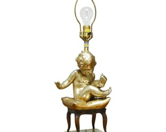 Hollywood Regency Figural Table Lamp with Gilt Putti by Marbro