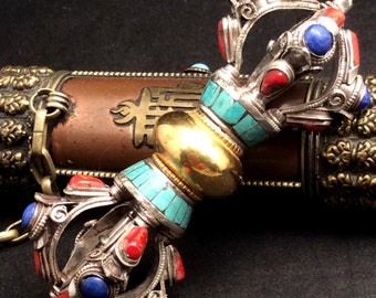Large Sterling Silver Inlay Dorje. Tibetan Buddhist Ritual Object. Turquoise, Coral, Lapis