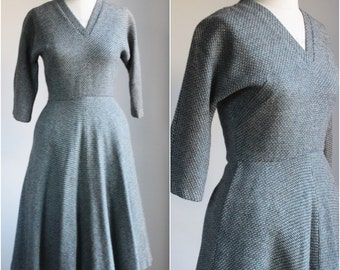 Vintage 1950s Wool Tweed Dress / Jerry Gilden Spectator 50s Wool Dress / New Look Dress / Dress With Pocket / Dress With Tie