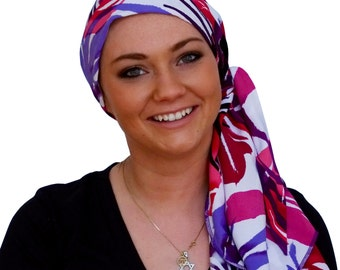 Carlee Pre-Tied Head Scarf, Women's Cancer Headwear, Chemo Scarf, Alopecia Hat, Head Wrap, Head Cover for Hair Loss - Pink, Purple Tropics