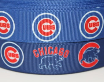 Cubs Baseball 7/8 inch Grosgrain Ribbon by the Yard for Hairbows, Scrapbooking, and More!!