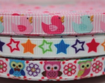 3/8 Duck - Star - Owl Ribbon Grosgrain Ribbon by the Yard for Hairbows, Scrapbooking, and More!!