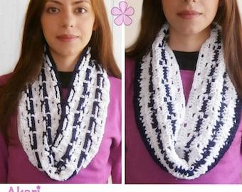 "Reversible Cowl Crochet Pattern. 2 colors circle scarf PDF crochet pattern. ""Anchor"" Infinity Scarf _ M33"