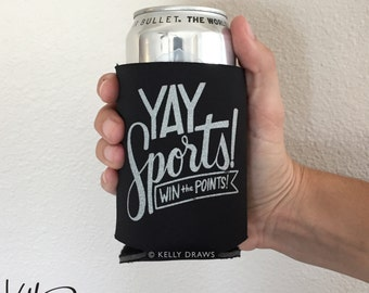"""Black and Silver Foam """"Yay Sports! Win The Points!"""" Beverage Insulator Can Cooler Football Team Spirit"""