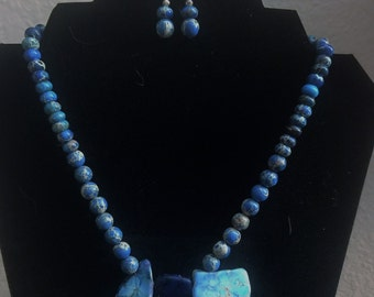 Blue Imperial Jasper Necklace and Earring set