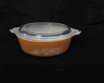 Vintage Pint Pyrex 471-B Baking Dish And 471-C Lid In Golden Butterfly Pattern