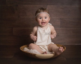 Lace Vintage inspired girls romper  Neutral palette Photography Prop available 0-3 6-12 & 18-24