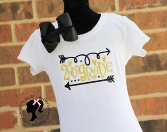 ANY GRADE! Kindergarten, 1st Grade, 2nd Grade, etc - Girls Gold Embroidered Back to School Shirt & Matching Hair Bow Set
